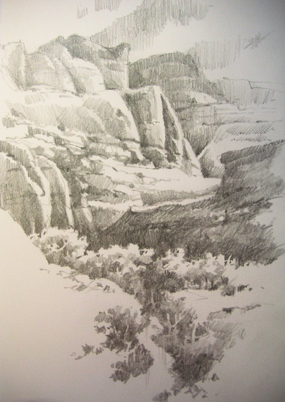 Travel sketchbook pencil drawing of the fremont river in capitol reef national park