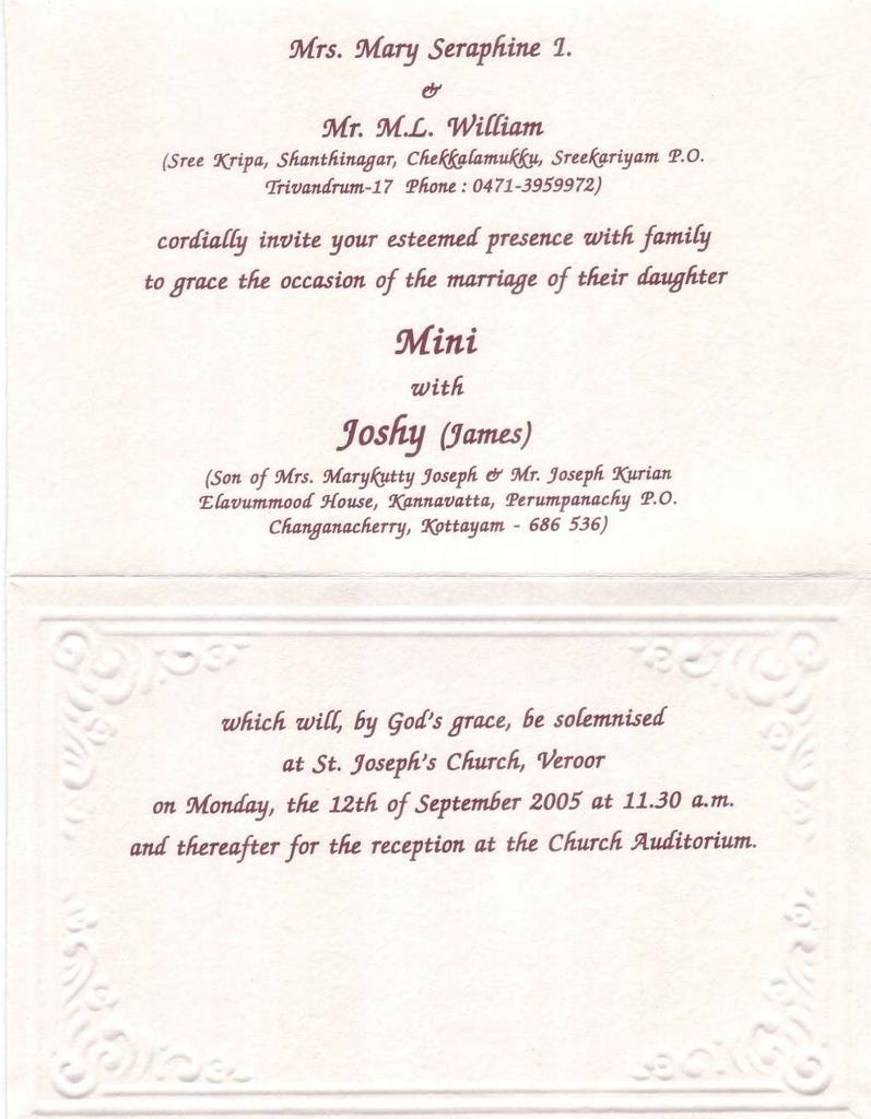 Tuesday September 06 2005 Dear All I Invite You