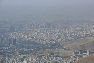 view of Tehran smog from Tochal