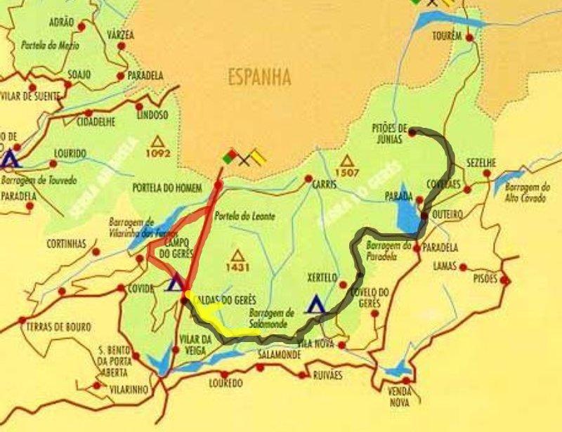 geres cascatas mapa Descobrindo Portugal geres cascatas mapa