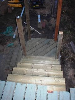 The steps from the deck