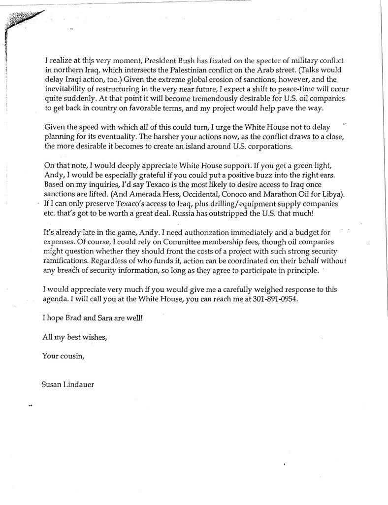 Jayspolitics Susan Lindauer Letter To Andy Card 7 3 2001