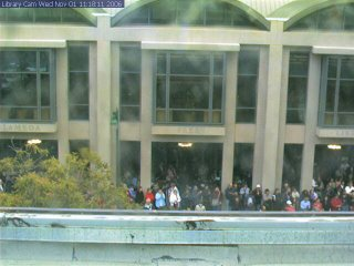 Webcam view of te opening of the Alameda Free Library