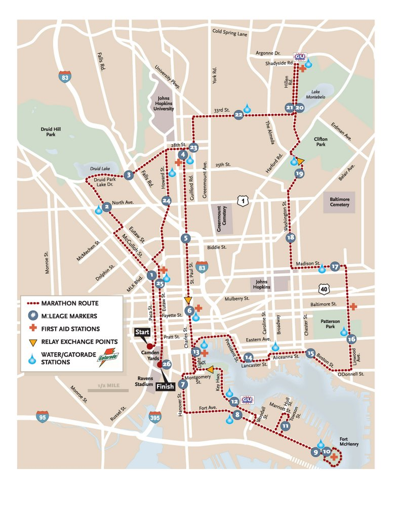 Baltimore Marathon Map Miscellaneous Posts: 2006 Baltimore Marathon Route