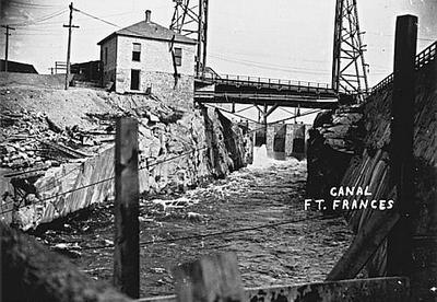 historic photo of the fort frances canal