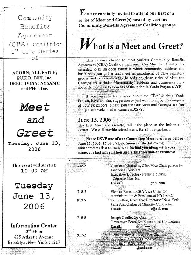 Cba coalition launches invite only meet greet sessions according to the invitation click on the image to enlarge it our meet and greets are intended to be an open forum in which community residents stopboris Images