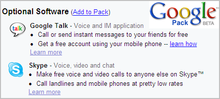 Google Talk and Skype on Google Pack