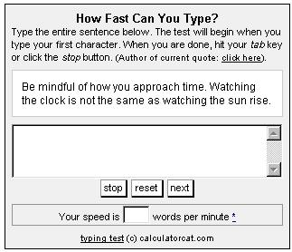 Screenshot of Speed Typing Test from CalculatorCat.com