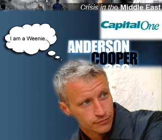 Hi, I'm Anderson Cooper, and I think I am pretty damned cool over here in the desert. I used to flinch when the artillery shells went off. Not anymore. I am battle hardened now.