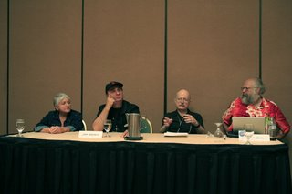 Sheila Finch, John DeChancie, Vernor Vinge, and Henry Melton at the Technology of Writing panel