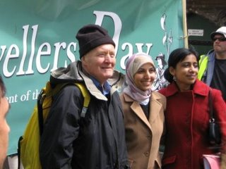Photography by Lisa Rullsenberg: Tony Benn, Salma Yaquoob, and Karen Chouhan at the Burford Levellers Day march, May 2006