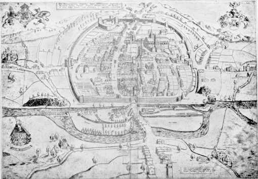 Hooker map of Exeter, 1587