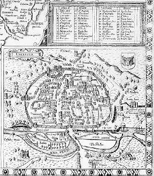 Speed map of Exeter, 1611