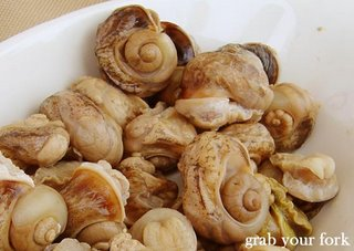 Close-up of farmed snails or escargots, removed from shell