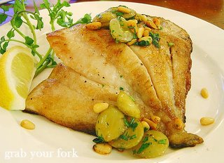Dory with pine nuts, grapes and gratin potatoes