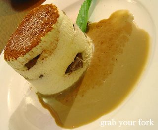 Tiramisu with coffee anglaise