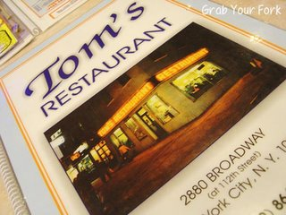 Tom's Restaurant menu