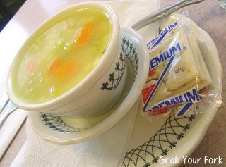 Chicken soup with crackers