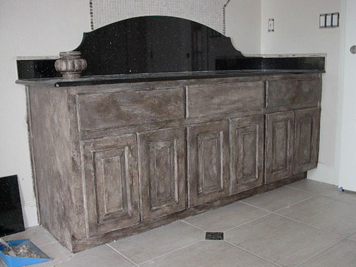 Talk about distressed everything i create paint garage - Black distressed bathroom vanity ...