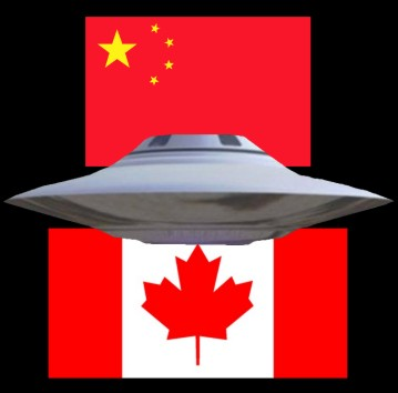 Flying Saucer China & Canada Flags
