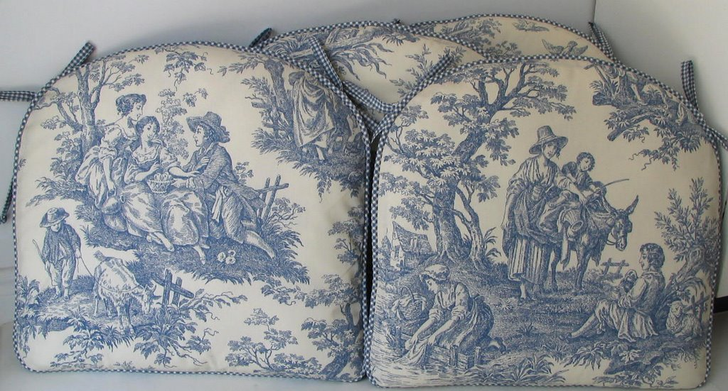 Blue Toile Kitchen Chair Pads