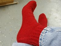 Red mini-cable socks