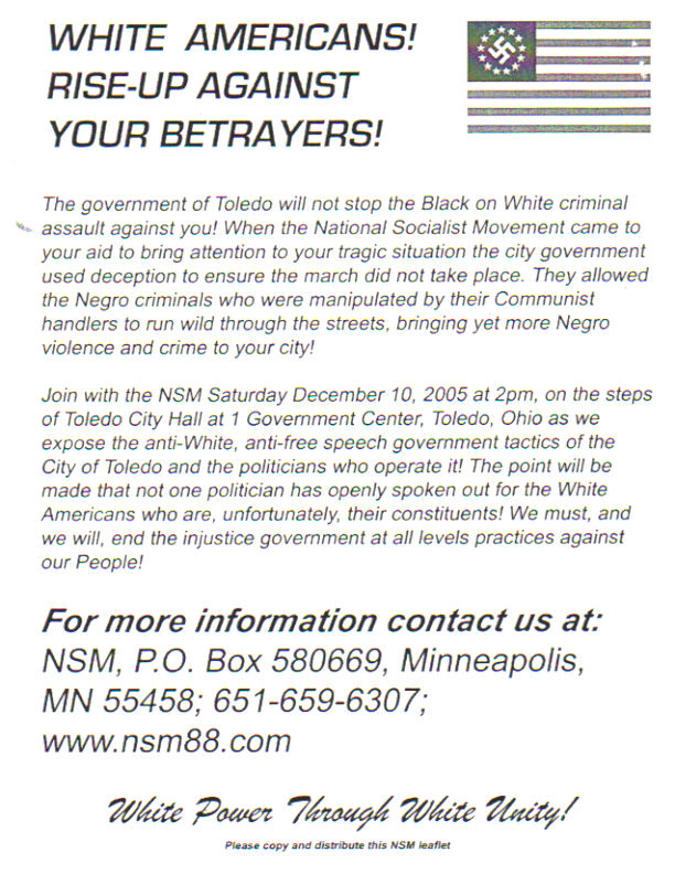 historymike: NSM To Pass Out Flyers In Toledo, SE Michigan