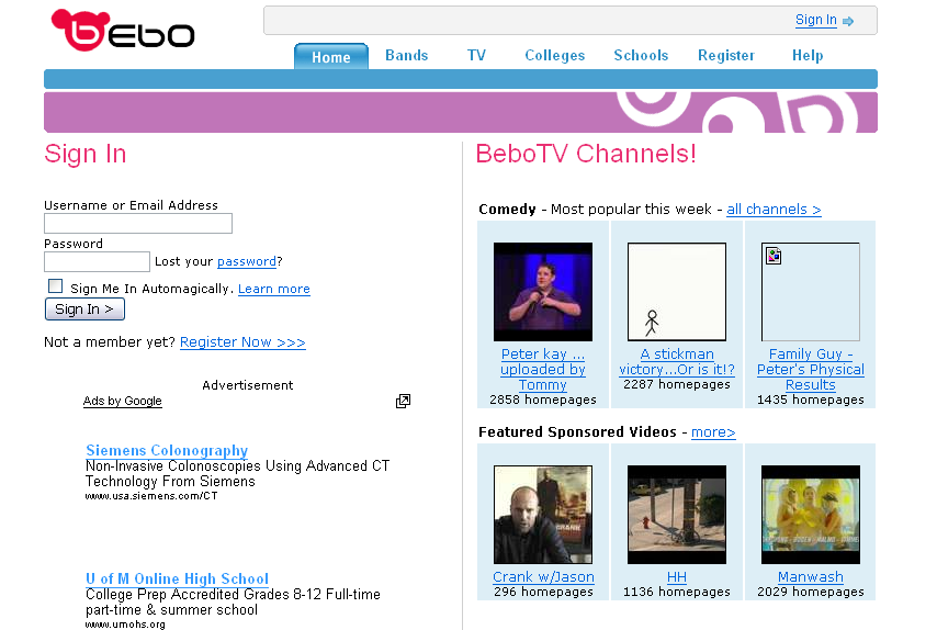 bebo dating website
