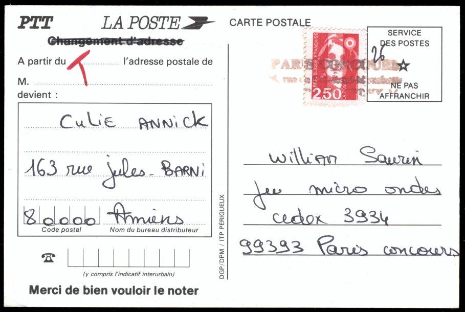 Blog philat lie carte postale de changement d 39 adresse for La poste changement adresse definitif
