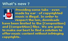 Copyright de tabs, tablaturas y partituras
