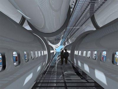 edificio construido con fuselajes de avión reciclados