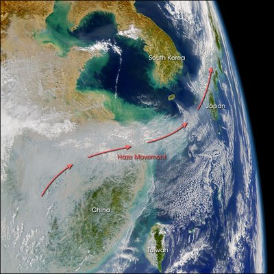 La polución de China cubre Japón