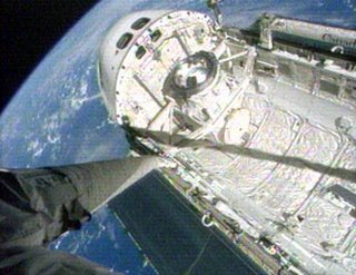 View of the Atlantis today from a camera on the end of its robotic arm