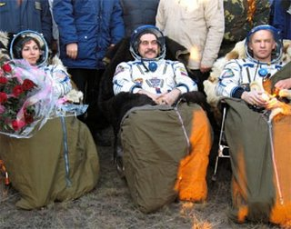 Anousheh, Vinogradov and Williams seated at the landing site