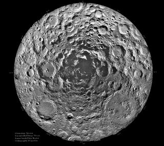 Nasa image of lunar south pole
