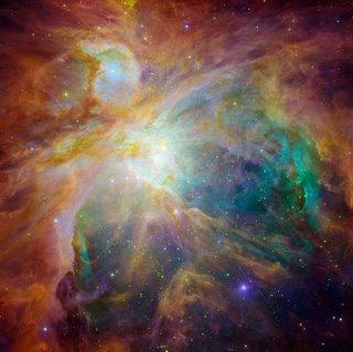 Hubble/Spitzer image of the Orion Nebula