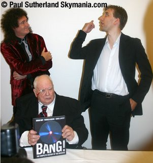 Authors Brian May, Patrick Moore and Chris Lintott. © Paul Sutherland