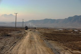 A long distance patrol in Afghanistan - hard on wheeled vehicles but harder on tracks