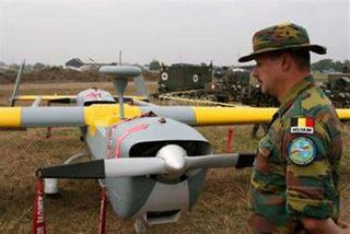 A Belgain Hunter UAV on display in Kinshasa