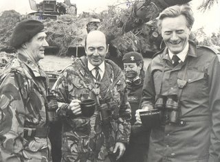 Heseltine as defence minister, 1984 - He is with Lt Gen Martin Farndale and Dr Worner.  The picture was taken on or around the 21 Sep 1984 on Exercise Lionheart, one of the last very large West German cold war exercises.