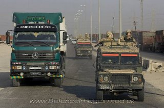 Of course, the RG-31s are 'too big for Basra', where only Land Rovers can go