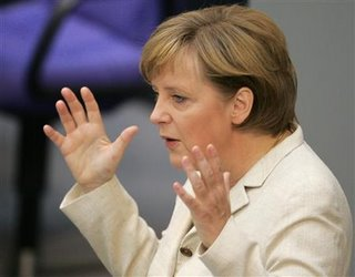 Merkel addressing the German parliament