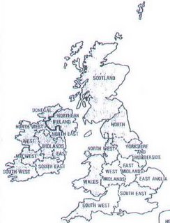 The regions of the UK, circa 1975