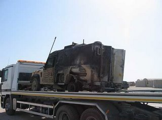 A burnt-out 'Snatch' Land Rover