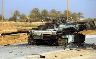 An Abrahms tank destroyed by an IED