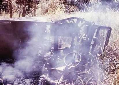 A Land Rover after a mine explosion