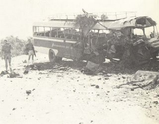 The aftermath of a mine attack in Rhodesia