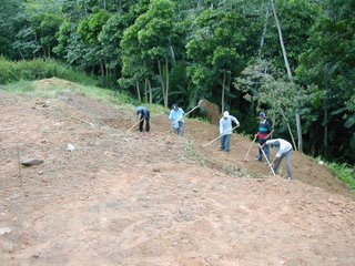 workers leveling the hill, La Ceiba, Honduras