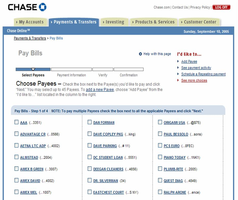 chase online banking