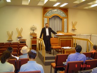Rabbi Klapper speaking at Congregation Shaarei Tefillah on 9 August 2006 on paskening like the Meiri